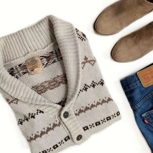 Vintage 100% Cotton Cream & Brown Cardigan Medium